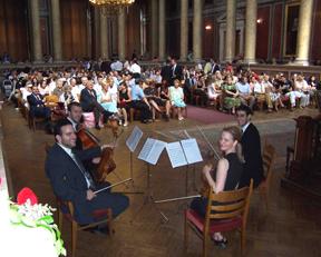 Eines unserer Streichquartette bei einer musikalischen Umrahmung an der Universität Wien